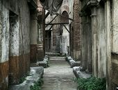picture of obelisk  - Old abandoned houses in ancient rome - JPG