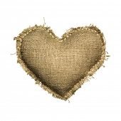 stock photo of grommets  - Valentine linen Sackcloth heart - JPG