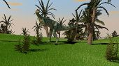 stock photo of dinosaurus  - dilophosaurus dinosaurus in jungle - JPG