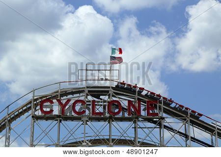 Historical landmark Cyclone roller coaster  at the Coney Island section of Brooklyn