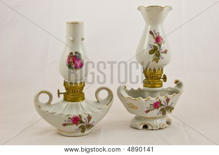 Two Antique Floral Pattern Lanterns Isolated