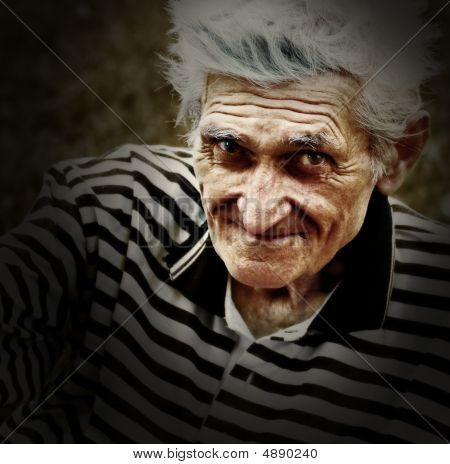 Artistic Vintage Portrait Of Senior Old Man
