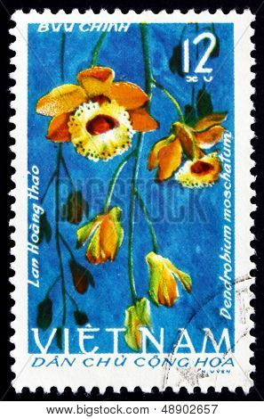 Postage Stamp Vietnam 1966 Musky-smelling Dendrobium, Orchid