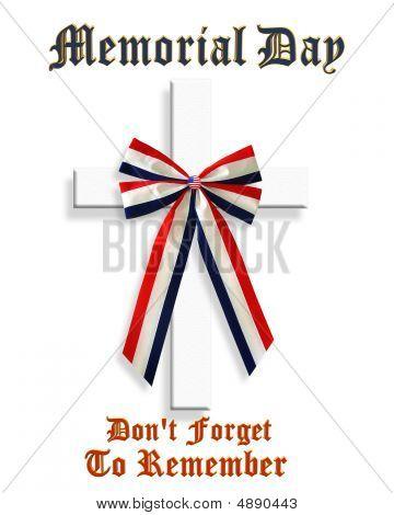 Memorial Day Cross And Ribbon