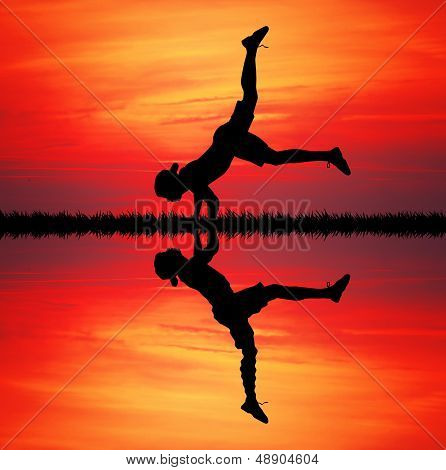 Breakdancer At Sunset