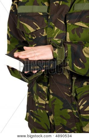 Soldier Swear With Hand On Bible