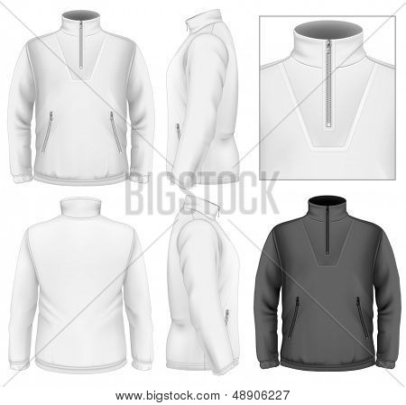 Photo-realistic vector illustration. Men's fleece sweater design template (front view, back and side views). Illustration contains gradient mesh.