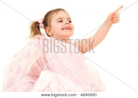 Young Girl In Pink Princess Dress