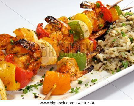 Garnelen Kebabs mit Reis