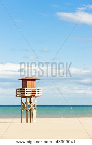 lifeguard cabin on the beach in Narbonne Plage, Languedoc-Roussillon, France