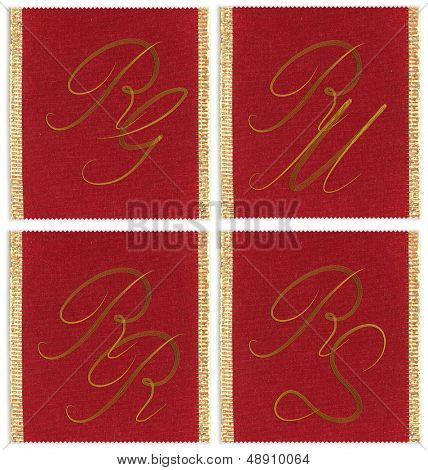 Collection of textile monograms design on a ribbon. RJ, RM, RS, RR