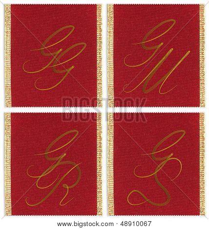 Collection of textile monograms design on a ribbon. JJ, JM, JS, JR
