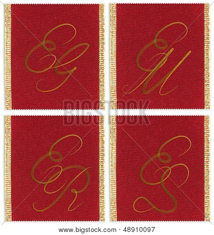 Collection of textile monograms design on a ribbon. EJ, EM, ES, ER