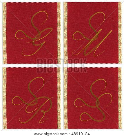 Collection of textile monograms design on a ribbon. SJ, SM, SS, SR
