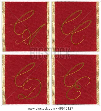 Collection of textile monograms design on a ribbon. CA, CC, CD, CE