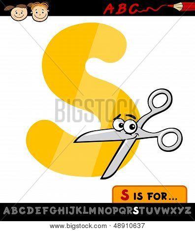 Letter S With Scissors Cartoon Illustration