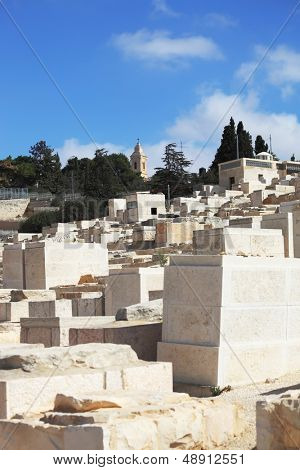 The capital of Israel - Jerusalem. Old Jewish cemetery on the Mount of Olives