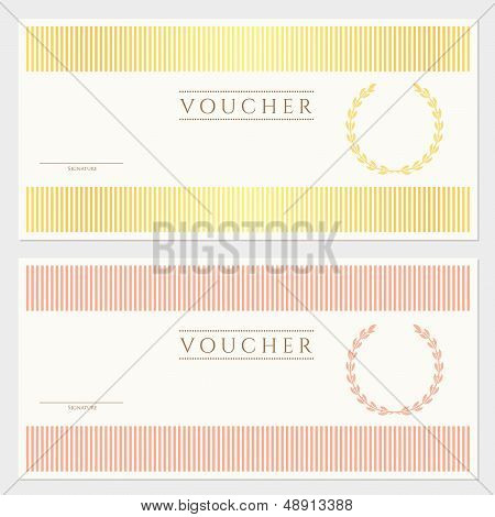 Gift Voucher / certificate / coupon template (banknote, cheque, check)