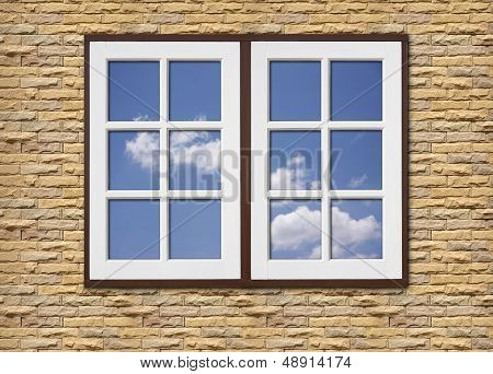White Wood Window On Stone Walls