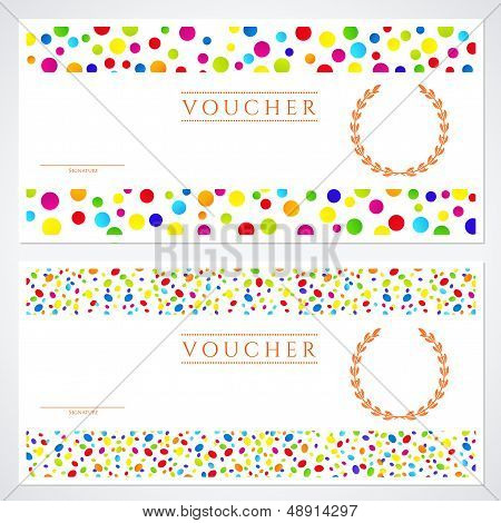 Voucher (Gift certificate) template with colorful circles background
