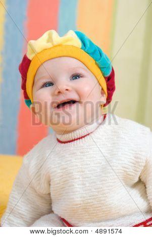 Breast Small Caucasian Girl Smiles.