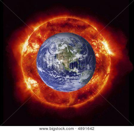 Sun Burning Earth