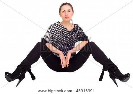 Sexy girl posing with his legs apart