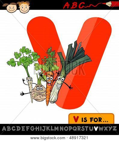 Letter V With Vegetables Cartoon Illustration