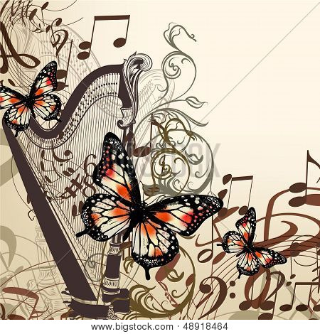 Vector Background With Harp, Notes And Butterflies