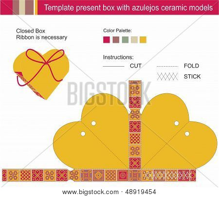 Template Present Box In Heart Shape With Azulejos Ceramic Models