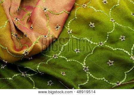 Pink And Green Textile