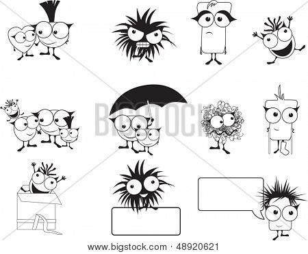 punk style cute monster,happy, family, love, sad, surprised, upset, together