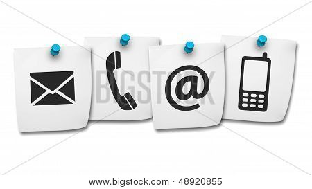 Web Contact Us Icons On Post It