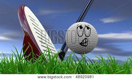 Cartoon golf ball being hit with golf club