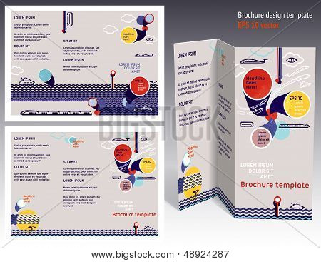 Brochure, Booklet Z-fold 2-sides Layout. Editable Design Template