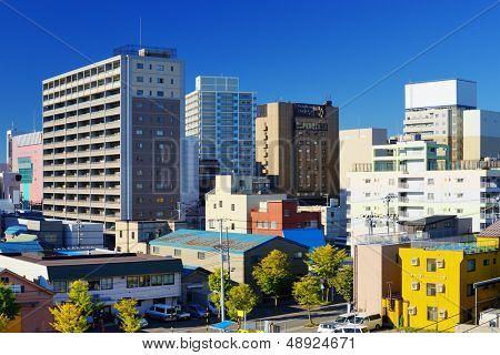 Buildings in downtown Aomori City, Japan.