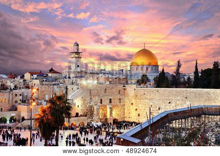Skyline of the Old City at he Western Wall and Temple Mount in Jerusalem, Israel.