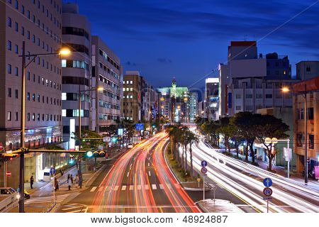 Naha, Okinawa, Japan expressway through the city.