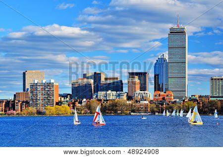 Boston, Massachusetts Skyline at Back Bay district.