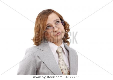 Successful Business Woman Thinks About Something.