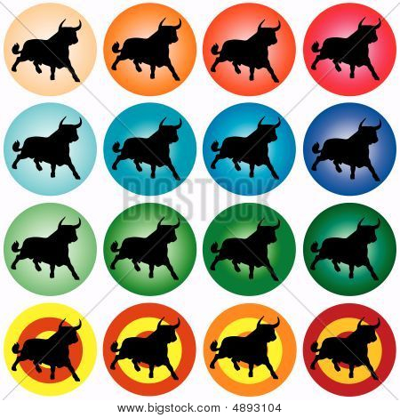 Black Bull In Colored Circles