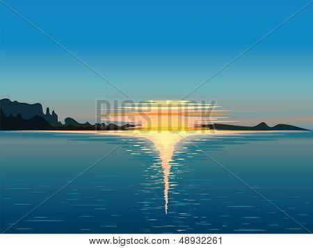 Landscape At Sunset, Vector Illustration
