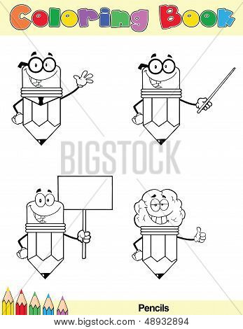 Coloring Book Page Pencil Character 3