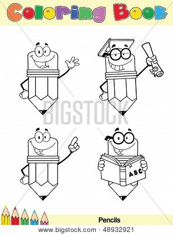 Coloring Book Page Pencil Character