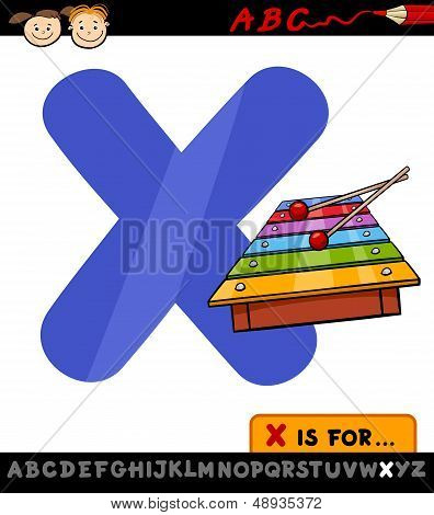 Letter X With Xylophone Cartoon Illustration