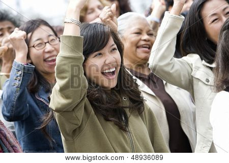Happy multiethnic group of women in a rally