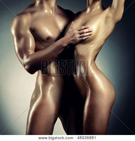 Art photo of nude sexy couple in the tender passion