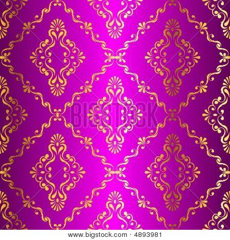 Gold-on-pink Seamless Swirly Indian Pattern