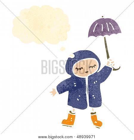 retro cartoon girl dancing in rain