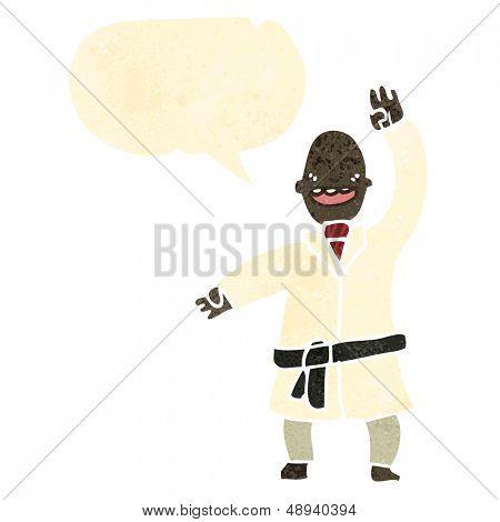 retro cartoon man karate chopping